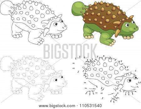 Cartoon Ankylosaurus. Vector Illustration. Dot To Dot Game For Kids