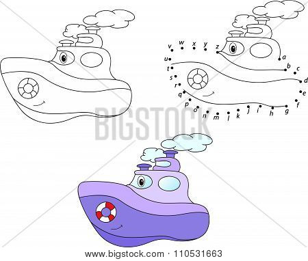 Cartoon Steamship. Vector Illustration. Coloring And Dot To Dot Game For Kids