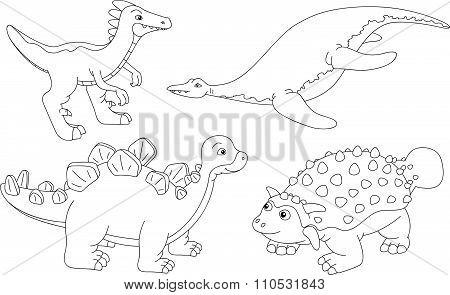 Set Of Pliosaur, Stegosaurus, Ankylosaurus And Guanlong. Coloring Book For Kids