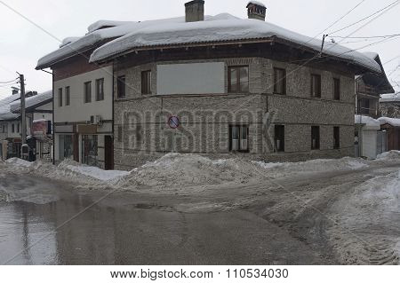 Street at winter in Bansko town, Bulgaria