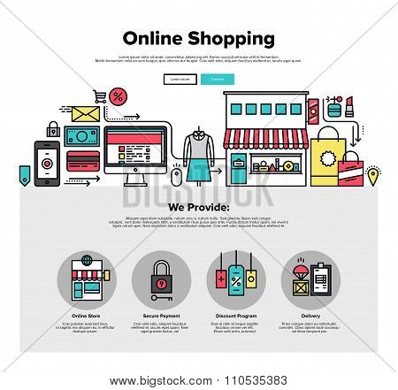 Shopping Online Flat Line Web Graphics