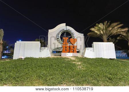 I Love Bahrain Statue In Muharraq, Bahrain