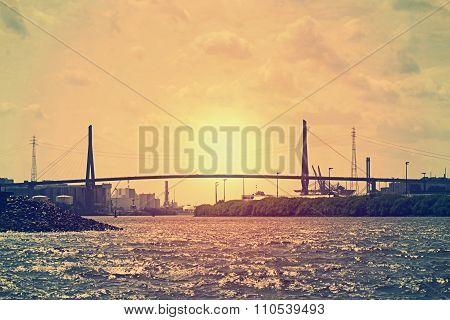 The Köhlbrand-bridge In Hamburgs Port-area At Sunset