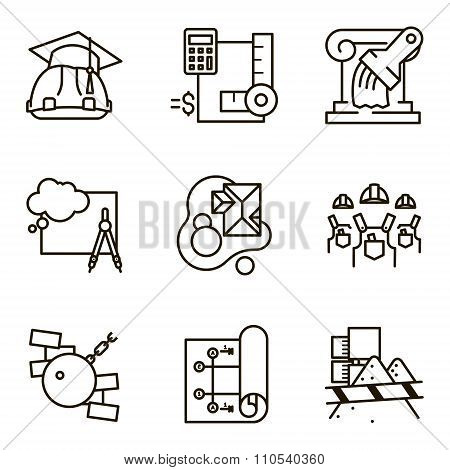 Black flat line vector set icon with a picture of a symbol construction engineering build  on white background. poster