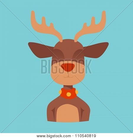 Santa Claus happy cartoon Christmas deer flat icon. Reindeer vector art flat illustration. Deer animal icon isolated. Reindeer vector symbol. Reindeer silhouette. Deer icon isolated on blue
