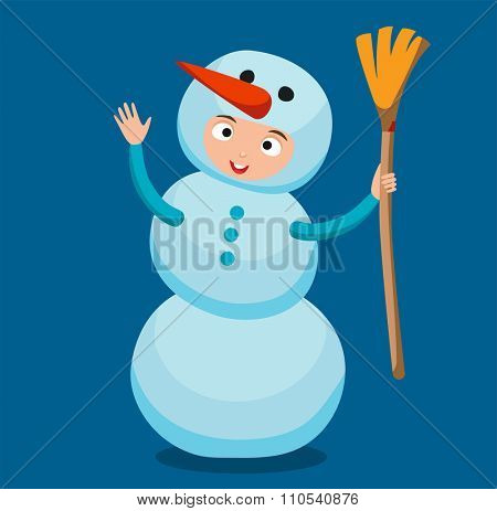 Snowman vector icon flat avatar. Snowman icon face smile isolated. Snowman icon flat style. Snowman vector design. Snowman icon isolated. Snowman Santa Christmas helper Snowman icon