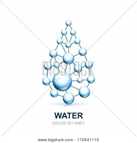 Abstract Molecular Cell Structure Of Water Drop.