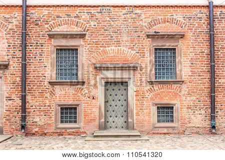 Mir Castle. July 27, 2015. The door and windows of the castle buildings