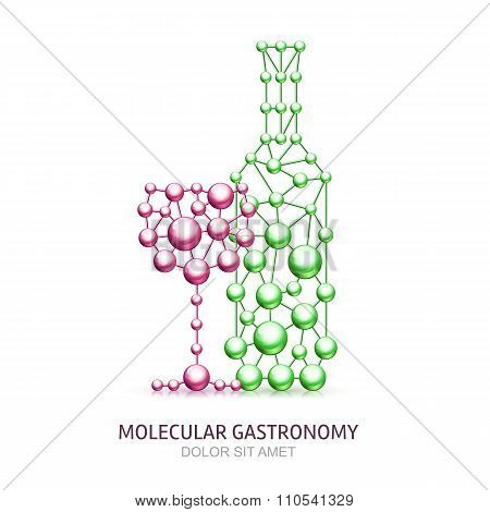 Abstract Wine Bottle And Glass From Molecules.