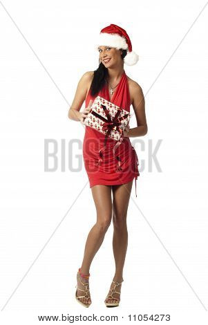 beautiful lady in red holding gift
