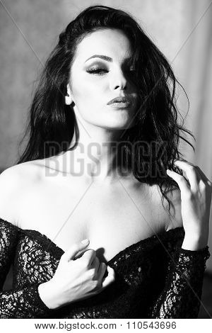 Woman In Black Lace