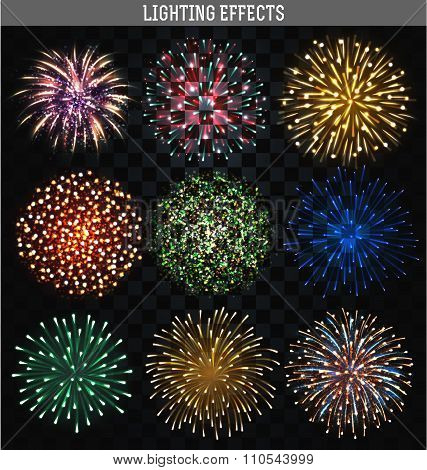 Set 9 realistic fireworks different shapes. Colorful festive, bright firework