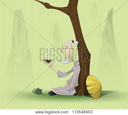 Chinese Old Man Sitting Under The Tree