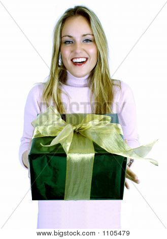 Young Lady With Gift (Christmas / Birthday)