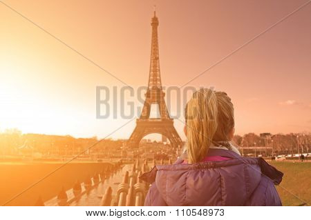 A look at the Paris and Eiffel tower from Trocadero with lonesome girl.