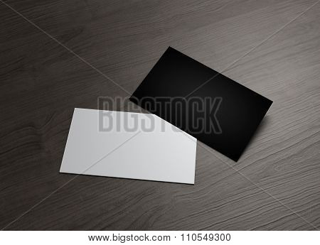 Black And White Business Card On Table