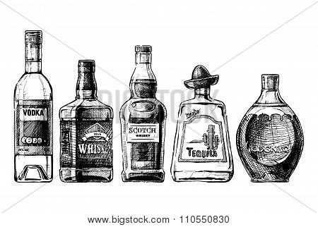Bottles Of Alcohol. Distilled Beverage