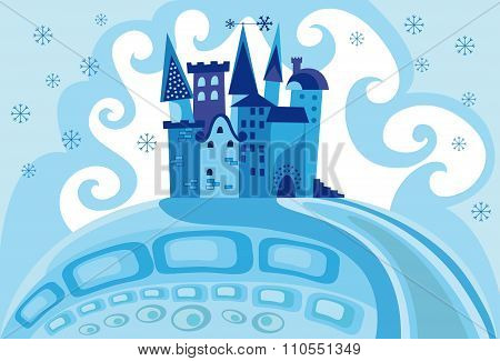 Colorful Illustration With A Snow Princess Castle