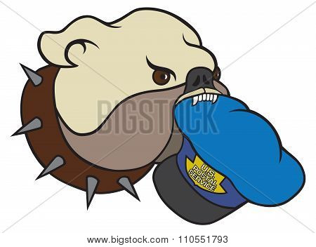Vicious bulldog has postman's cap in his mouth poster