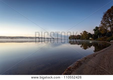 foggy morning in lake of Algonquin Provincial Park, Ontario, Canada