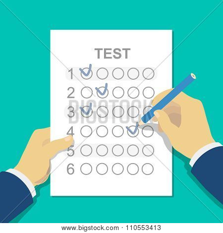 Answers to exam test answer sheet with pencil and hand. Flat style vector illustration