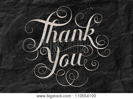 Hand lettering Thank You black paper background. Calligraphy for Thanksgiving Day. Vector Illustrati