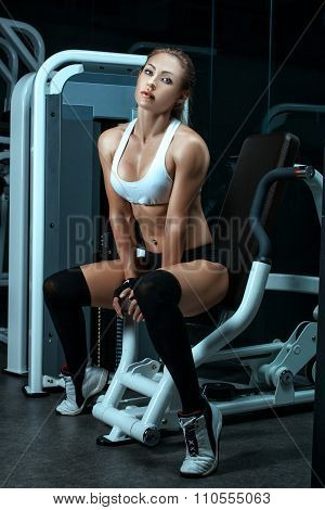 Sport Girl In The Gym For Bodybuilding.
