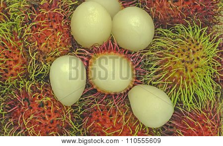 Thailand fruits rambutan in Asia pacific. Close up.