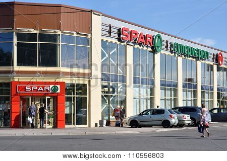 ST. PETERSBURG, RUSSIA - AUGUST 9, 2015: People at the supermarket SPAR, 7a, Repninskaya street. Founded in Netherlands in 1932, SPAR works in Russia since 2000