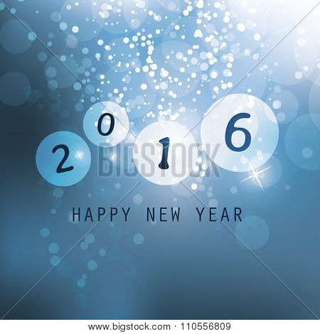 Best Wishes - Blue Abstract Modern Style Happy New Year Greeting Card, Cover or Background, Creative Design Template - 2016