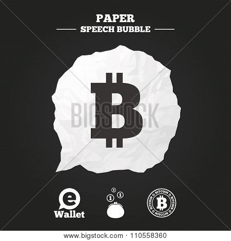 Bitcoin icons. Electronic wallet sign. Cash money symbol. Paper speech bubble with icon. poster