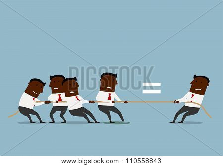 Cartoon businessmen competing in tug of war