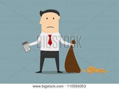 Bankrupt manager with calculator and empty bag