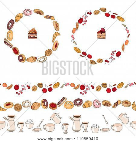 Endless pattern brushes and round frames  with different  pastry. Different taste and color.