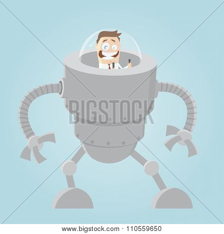 funny cartoon man in big robot