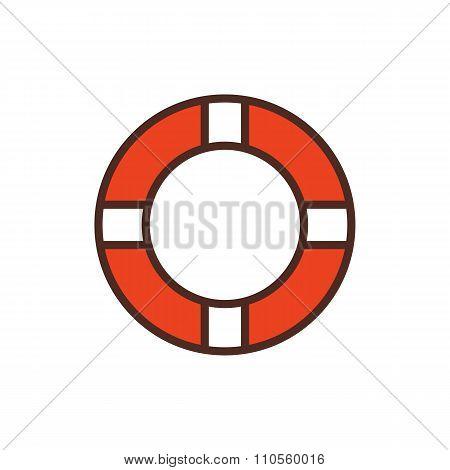 Lifebuoy outline color icon, modern minimal flat design style. Vector illustration