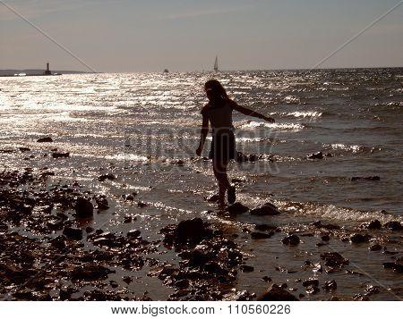 Girl Wades in Lake Michigan