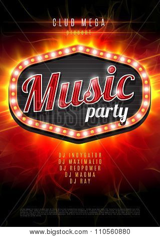 Abstract music party background for music event design. Retro light frame on red flame background. v