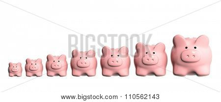 Conceptual image - growth of the capital. Seven 3d piggy banks from different sizes arranged in a line. Isolated on white background