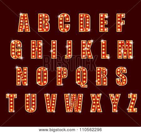 Light Bulb alphabet glamorous showtime theater alphabet