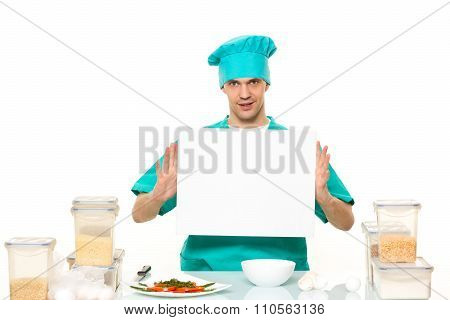 cook on a white background with relies space for writing. table with banks for cereals