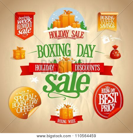 Boxing day sale signs, designs, banners, stickers and coupons set, vintage style.