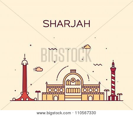 Sharjah skyline detailed silhouette Trendy vector illustration linear style poster