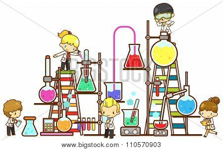 Cartoon Children Student Are Studying Chemistry, Working And Experimenting In Massive Cooling Tower