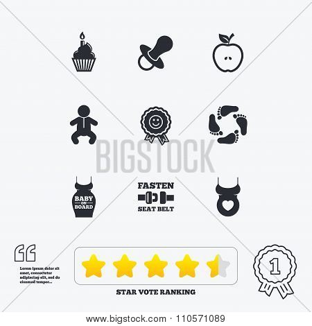Pregnancy, maternity and baby care icons. Apple, award and pacifier signs. Footprint, birthday cake and newborn symbols. Star vote ranking. Award achievement and quotes. poster
