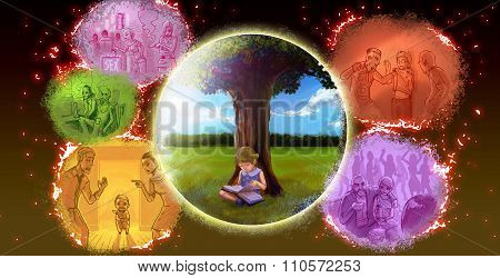 A Graphic Cartoon Illustration Child Girl Is Reading Book Under The Tree In Peaceful Nature Environm
