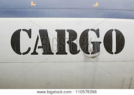 Cargo label written on an aircraft
