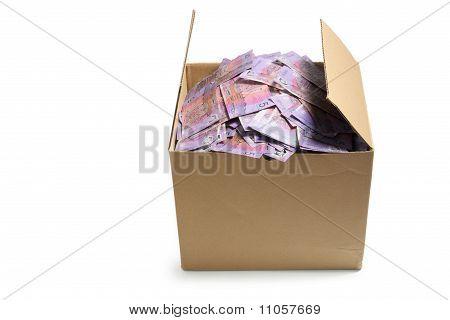 Banknotes In Cardboard Box