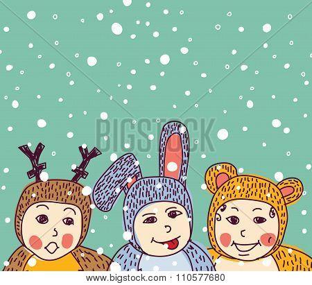 Baby animals costume winter and snow.