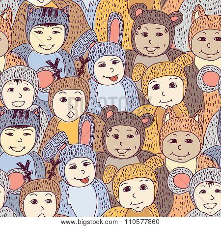 Children carnival costume animals seamless pattern color.